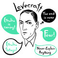 Howard Phillips Lovecraft vector portrait with quotes Royalty Free Stock Photo