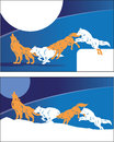 Howl at the moon two banner designs with howling wolves Stock Photography