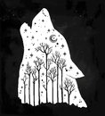 Howling double exposure wolf, forest background.