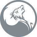 Howling wolf stylized silhouette yin yang Royalty Free Stock Photos