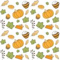 Autumn pattern with pumpkin desserts.