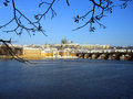 Hradcany and Charles Bridge Royalty Free Stock Images