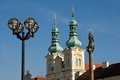 Hradec kralove czech republic towers church of the assumption in the great square in town Stock Image