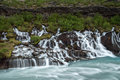 Hraunfossar summer picture of waterfall in iceland Royalty Free Stock Photos