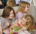 Hree little girls at birthday party having fun close up Stock Photos