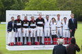 Hrh prince william and hrh prince harry in attendance for polo match berkshire united kingdom may de beers team king power team Stock Photography