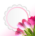 Härliga rosa realistiska tulip background vector Royaltyfria Bilder