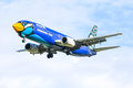 Hs ddj boeing of nokair airline chiangmai thailand june low cost landing to chiangmai airport from bangkok don muang Royalty Free Stock Photo