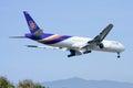 Hs tkc boeing of thaiairway chiangmai thailand december landing to chiangmai airport from bangkok suvarnabhumi thailand Stock Photo