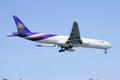 Hs tkc boeing of thaiairway chiangmai thailand december landing to chiangmai airport from bangkok suvarnabhumi thailand Royalty Free Stock Image