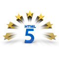 Html as number in blue with stars Stock Photography