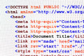 Html web page code front view source with document title metadata description and links monitor screenshot Royalty Free Stock Image