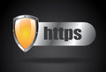 Https security over black background vector illustration Stock Photography