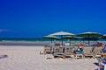 Hua hin beach a is beautiful the green sea the sky is blue Royalty Free Stock Photo