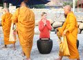 Hua hin thailand dec victoria azarenka of belarus pay respect to a monks before tennis match world invitation at Stock Photo
