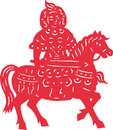 Hua mu lan rides on horse in traditional chinese paper cut style Royalty Free Stock Photography