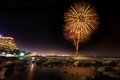 Huahin fire work at beach in new year celebration thailand Royalty Free Stock Photography