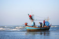 Huahin sea fisherman in fishing boat at thailand Royalty Free Stock Photography