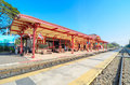 Huahin train station old architecture of all of build from wooden once landmark of thailand in aug Stock Photography