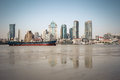 Huangpu river beach scenery shanghai and modern building reflection on the Royalty Free Stock Images