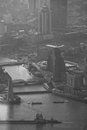 The huangpu river in black and white its activity from jimnao tower shanghai view Stock Photography