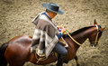 Huaso chilean rodeo claiming ribbon a cowboy from the central regions claims his after winning in a media luna competition Royalty Free Stock Photography
