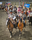 Huasos chilean rodeo media luna teams in parade cowboys from the central regions of chile are dressed traditional clothing the Stock Images