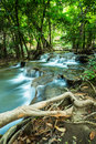 Huay mae kamin waterfall in green forest kanchanaburi thailand province Stock Photo