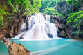 Huay mae kamin waterfall thailand at kanchanaburi province Royalty Free Stock Photography