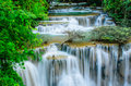 Huay mae khamin waterfall flowing water paradise in thailand located deep forest of is so beautiful of Royalty Free Stock Images