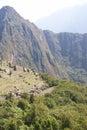 Huayna Picchu mountain overlooking  Inca ruins Stock Photos