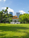 Hub bangkok august the combination of nature art and technology the rise of height building in a photo taken at lumpini park on Royalty Free Stock Image