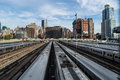 Hudson rail yards new york october a view of the with new construction in view on october in new york city Royalty Free Stock Image