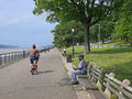 Hudson River bicycle path Royalty Free Stock Photo