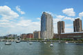 Hudson river park in tribeca bezirk in manhattan Stockbilder