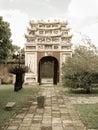 Hue inner door of the forbidden city in vietnam the citadel of the nguyen emperors where the forbidden city is located has been Stock Photos