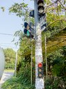Hue, Vietnam - September 13 2017: Close up of a set of traffic lights in stoned structure in Hue, Vietnam Royalty Free Stock Photo