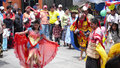 Huehuetenango guatemala a group of people representing traditional dances imitating animals with masks made of wood in the center Royalty Free Stock Images
