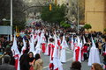 Huelva andalusia spain march penitents brotherhood accompanied christ easter monday el perdon tradition hundreds years typical Stock Photo