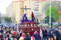 Huelva andalusia spain march penitents brotherhood accompanied christ easter monday el perdon tradition hundreds years typical Royalty Free Stock Photo