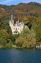 Huenegg castle on the lake thun switzerland Stock Photos