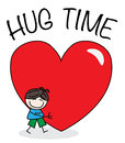 Hug time a boy with a big heart valentines day header or banner Stock Photography