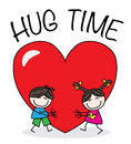 Hug time a boy and girl with a big heart valentines day header or banner Royalty Free Stock Photo