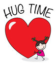 Hug time a sweet little girl with a big heart valentines day header or banner Stock Image