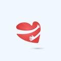 Hug yourself logo.Love yourself logo.Love and Heart Care icon.