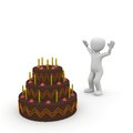 Huge birthday cake made ​​of chocolate delicious Royalty Free Stock Photo