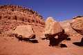 Huge boulders precariously balanced on tiny pedestals in the desert highlands near marble canyon arizona Stock Photo