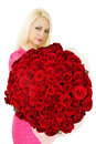 Huge bouquet woman is holding a of red roses Stock Photo