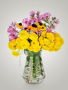 Huge bunch of yellow and red autumn chrysanthemum flowers Royalty Free Stock Photo