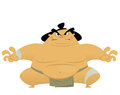Huge cartoon angry sumo wrestler ready to fight Stock Photo